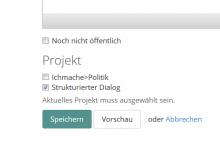 Bildschirmfoto Artikeleditor Auswahl Projekte