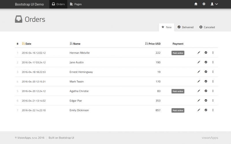 Screenshot der Bootstrap UI Demoversion