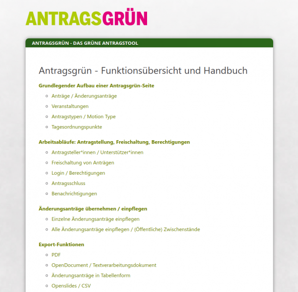 Antragsgrün Handbuch online