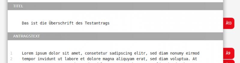 Bildschirmfoto zur Laschenansicht bei Änderungen zur Überschrift.