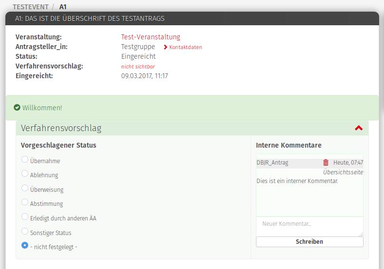 Bildschirmfoto zur neuen Funktion »Verfahrensvorschlag«