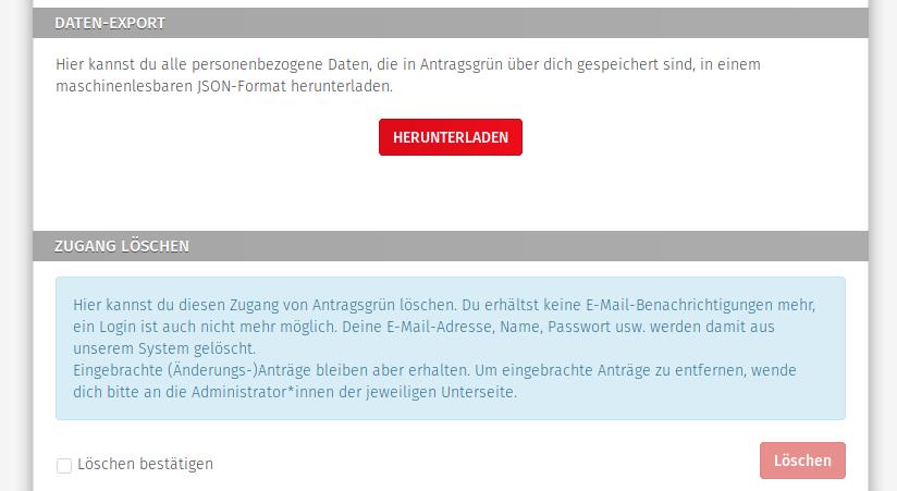 Bildschirmfoto »Datenexport und Profil löschen«