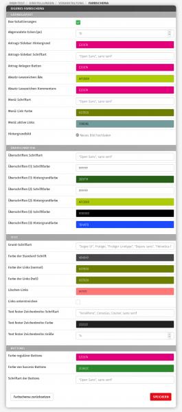 Screenshot Farbschema-Einstellungen