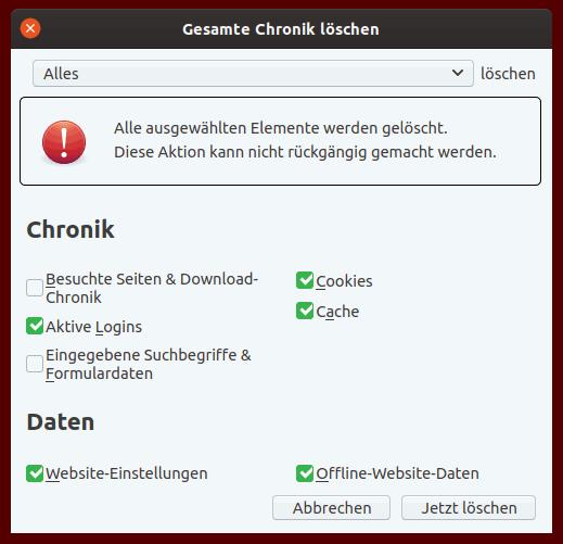 """Einstellungsfenster """"Chronik löschen"""" bei Mozilla Firefox"""