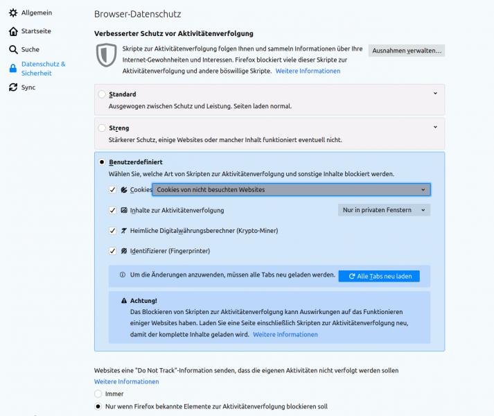 Bildschirmfoto der Datenschutzeinstellungen von Mozilla Firefox